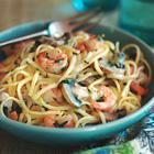 mushroom shrimp pasta photo
